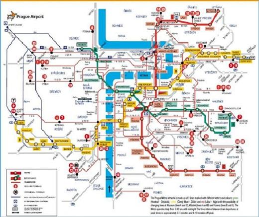 Прага. Схема метро и трамваев